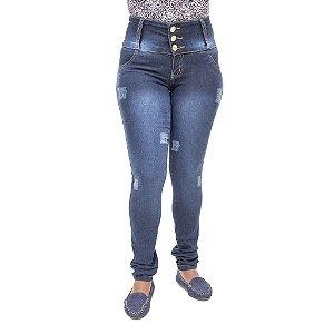 Calça Jeans Feminina Legging Thomix Escura com Elástico Levanta Bumbum