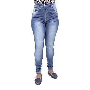 Calça Jeans Feminina Deerf Manchada Hot Pants Cintura Alta