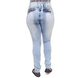 Calça Jeans Feminina Legging Deerf Marmorizada com Elástico