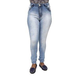 Calça Jeans Feminina Legging S Planeta Hot Pants Manchada com Cintura Alta
