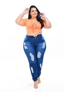 Calça Jeans Promise Plus Size Clochard Roselice Azul