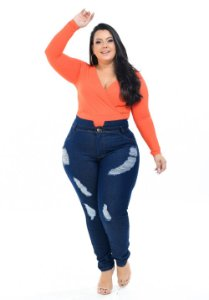 Calça Jeans Promise Plus Size Clochard Caita Azul