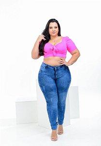 Calça Jeans Latitude Plus Size Skinny Loyann Azul