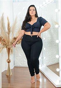 Calça Jeans Helix Plus Size Skinny Samaria Preta