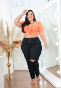Calça Jeans Helix Plus Size Skinny Nerci Preta