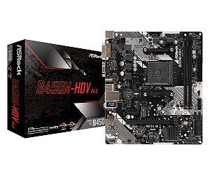 PLACA-MÃE ASROCK B450M-HDV R4.0 AMD AM4 DDR4