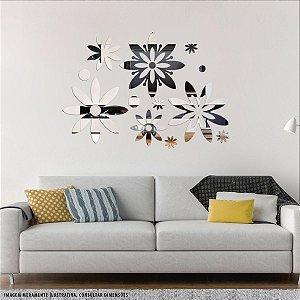 Conjunto decorativo em Acrílico Espelhado - Flowers