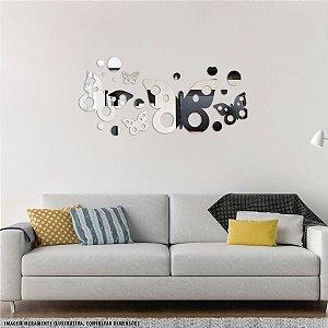 Conjunto decorativo em Acrílico Espelhado - Borboleta Neo