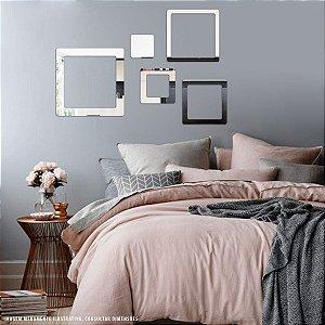 Conjunto decorativo em Acrílico Espelhado - Squares