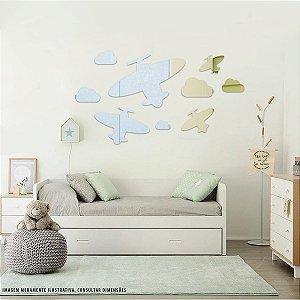 Conjunto decorativo em Acrílico Espelhado - Aviões