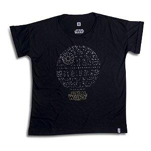 Camiseta Feminina Star Wars Estrela da Morte Cristais Swarovski