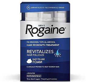 Rogaine Foam - Caixa com 3 unidades 60 g cada frasco original.