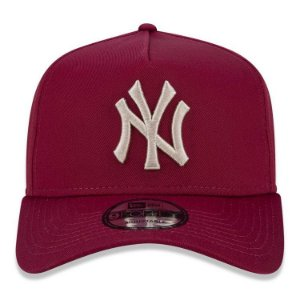 Boné New Era 9Forty New York Yankees A-Frame Vinho Snapback Aba Curva