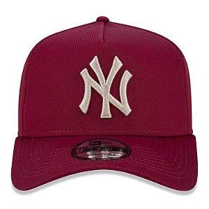 Boné New Era 9Forty New York Yankees A-Frame Vinho Snapback Aba Curva