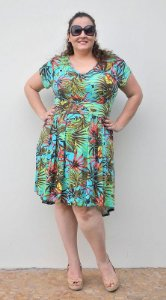 Vestido mullet estampa tropical