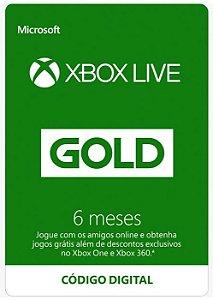Cartão Assinatura 6 Meses Xbox Live Gold - Código Digital