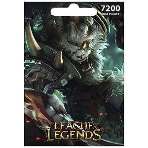 Cartão League Of Legends 7200 RPs  - LOL Riot Points