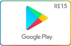 Cartão Google Play Store Brasil - Crédito de R$15 - Envio Digital