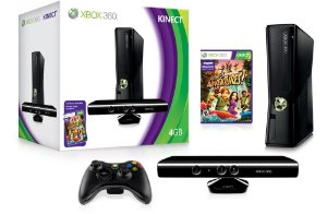 Video Game XBOX 360 4GB + controle + Kinect Sensor + 2 Jogos.