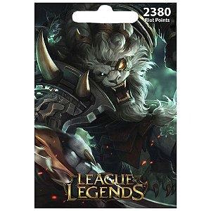 Cartão League Of Legends 2380 RPs  - LOL Riot Points