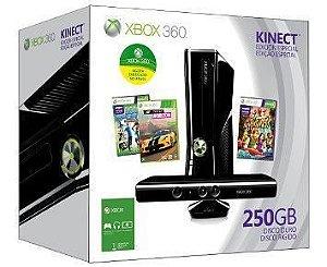 Xbox 360 250gb Com Kinect 3 Jogos E 1 Mês De Live Gold