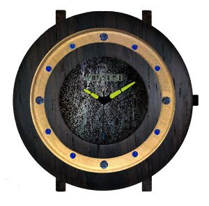 Relógio de Meteorito e Madeira Jacarandá Vidro de Safira Jewelry