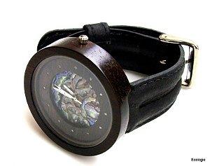 Relógio Ecológico Jacarandá com Diamantes e  Abalone