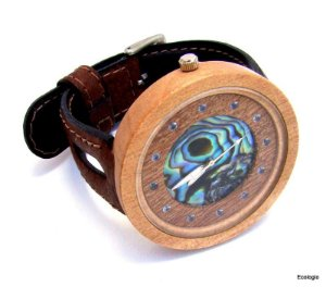 Relógio de Madeira Jenipapo, Abalone e Agua Marinha