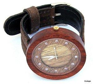 Relógio de Madeira do Condurú com Turmalinas Naturais