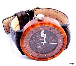 Relógio de semente e madera de Luxo Automático com  Diamantes