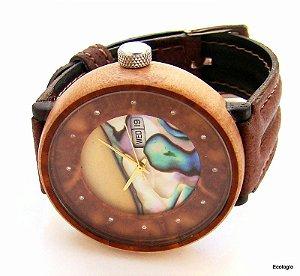 Relogio de Madeira Ecologio  Jenipapo  Diamantes  Abalone Automático 21 Jewels