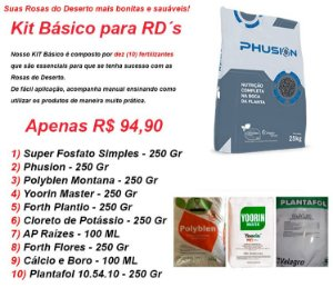 KIT BÁSICO - Fertilizantes para Rosa do Deserto contendo 10 produtos TOP DE LINHA