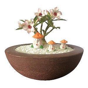 Trio de cogumelos (miniaturas) de gesso para enfeitar vasos e terrários