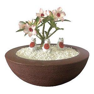 Trio de gatinhos chinês (miniaturas) de gesso para enfeitar vasos e terrários