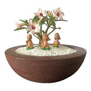 Trio de macaquinhos (miniaturas) de gesso para enfeitar vasos e terrários