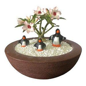 Trio de pinguins (miniaturas) de gesso para enfeitar vasos e terrários