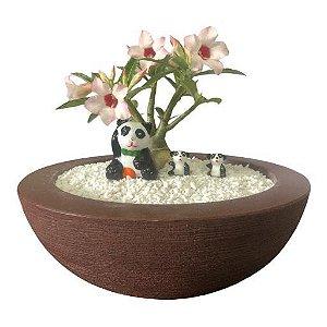 Trio de ursinhos panda (miniaturas) de gesso para enfeitar vasos e terrários