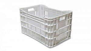 Caixa Plástica Vazada Branca 60 Litros | 55,5 x 36 x 31 cm
