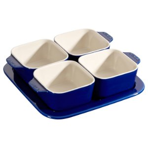 Conjunto para Aperitivos Com 5 Peças Cerâmica 19 x 19 cm Azul Marinho | Staub