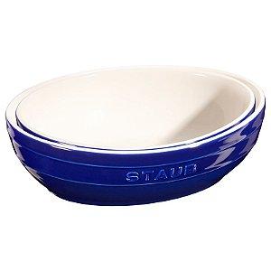 Conjunto Multi Bowl Cerâmica Com  2 Peças De 23 e 27 cm Azul Marinho | Staub