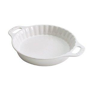 Travessa De Torta Redonda Cerâmica Branca 28 cm | Staub