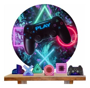 Painel Tecido Redondo 1.50m + 6 Displays Vídeo Game