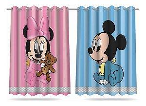 Cortina Infantil Estampada 2,60x1,50m Minnie E Mickey Baby