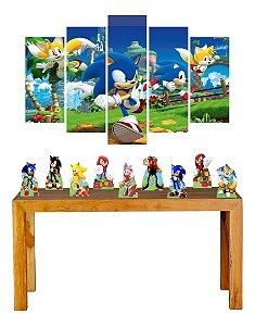 Kit Só Um Bolinho Sonic 5 Quadros + 09 Displays Mesa Mdf
