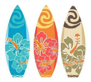 3 Prancha Moana Hawai Surfe Tropical Festa Totem Display Mdf