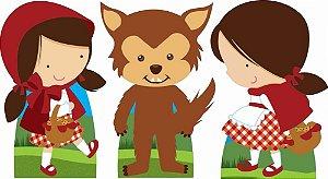 Kit 3 Totem Chapeuzinho Vermelho Decoração Aniversário Festa