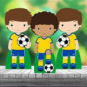 Kit 3 Futebol Brasil Copa Totem Display Mesa Mdf