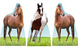 Kit 3 Festa Totem Display Aniversario Cavalo Fazenda Mdf