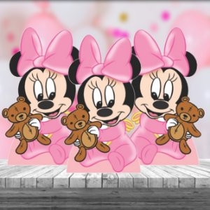 Kit 3 Minnie Baby Disney Totem Display Mesa Mdf