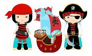 Kit 3 Piratas Cute Cenário Decoração Aniversário Festa